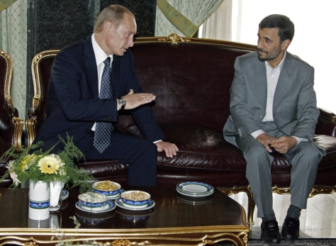 Image: Putin and Ahmadinejad in Tehran