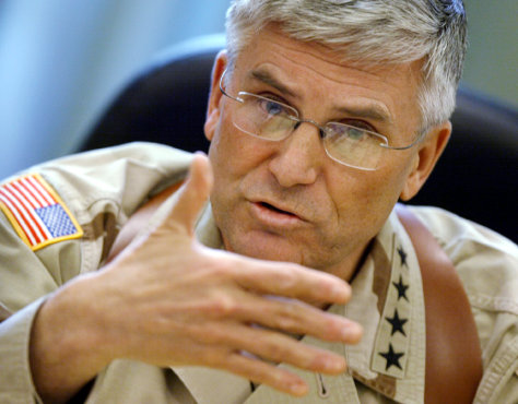 US military commander in Iraq General George Casey speaks to reporters in Baghdad