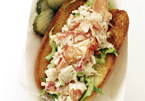 Lobster Roll with Pickles on Side
