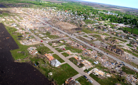 IMAGE: AERIAL OF FLATTENED TOWN