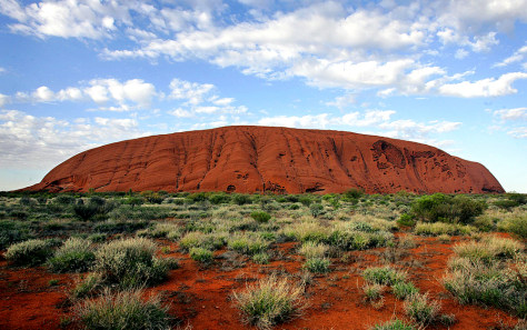 The monolith of Uluru (Ayers Rock) rises