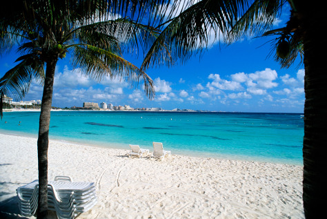 Image: Lounge chairs on beach, Cancun