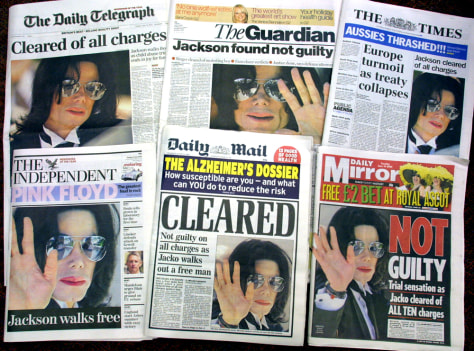 Image: British newspapers with Michael Jackson headlines.