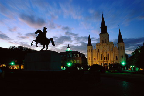 Image: St. Louis Cathedral in Jackson Square at Dusk