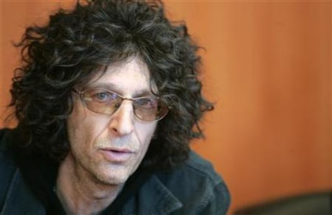 Radio personality Howard Stern speaks during a news conference in New York February 28, 2006. Stern ..