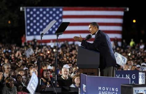 U.S. President Obama campaigns for Ohio Governor Strickland at a midterm election campaign rally at Ohio State University in Columbus