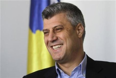 Kosovo's Prime Minister Hashim Thaci speaks during an interview with Reuters in Pristina