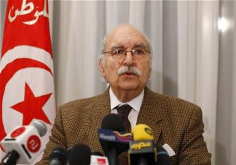 Interim Tunisian President Fouad Mebazza speaks during a news conference in Tunis