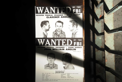 Image: John and Clarence Anglin's wanted poster on Alcatraz Island