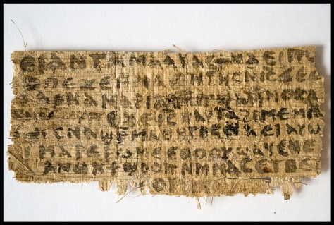Handout image of an ancient papyrus written in ancient Egyptian Coptic