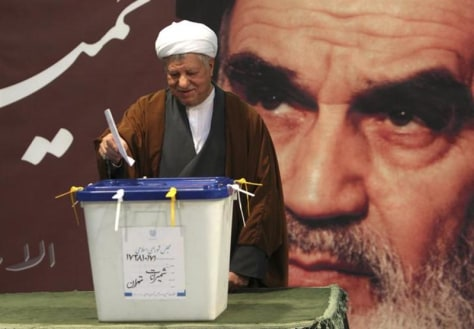 Former President Rafsanjani casts his ballot in a parliamentary election in Tehran