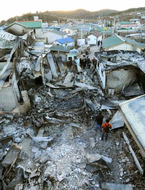 Image: Houses destroyed by North Korean artillery shelling pictured on Yeonpyeong island