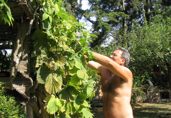 Image: Mark Storey gardening in the nude