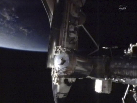 Image: A photo made from NASA video shows the Endeavour docked on the Harmony node of the International Space Station