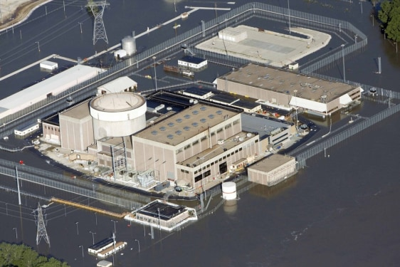 Image: An aerial view of the Fort Calhoun Nuclear Power Plant in eastern Nebraska, surrounded by Missouri River flood waters