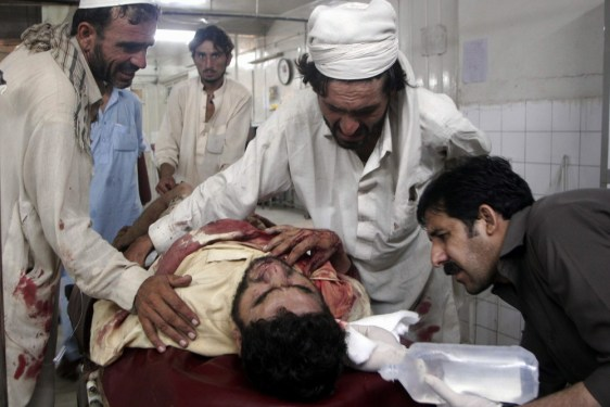 Image: A man who was injured in a suicide bomb attack targeting Friday congregational prayers at a Mosque