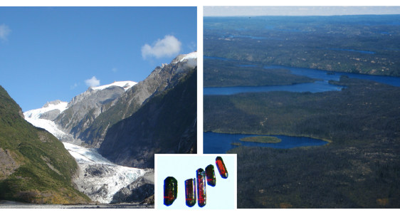 Images: Mountain-building processes, left; erosion, right