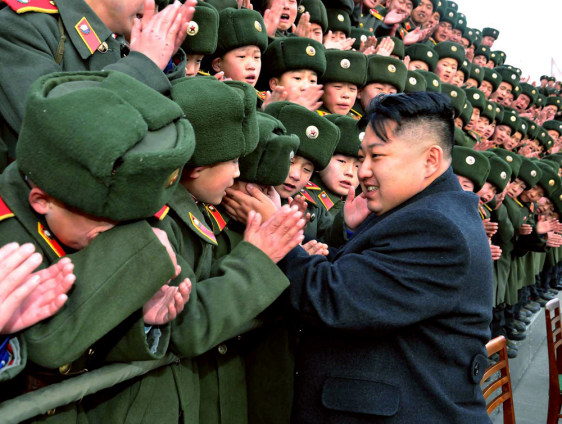 Image: Kim Jong Un greets studnets at the Mangyongdae Revolutionary School at Pyongyang
