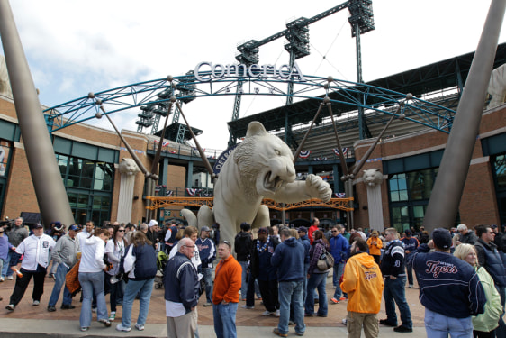 Image: Fans gather outside Comerica Park