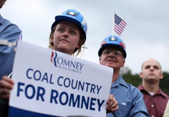 Image: Coal miners at a campaign event with Mitt Romney in Ohio