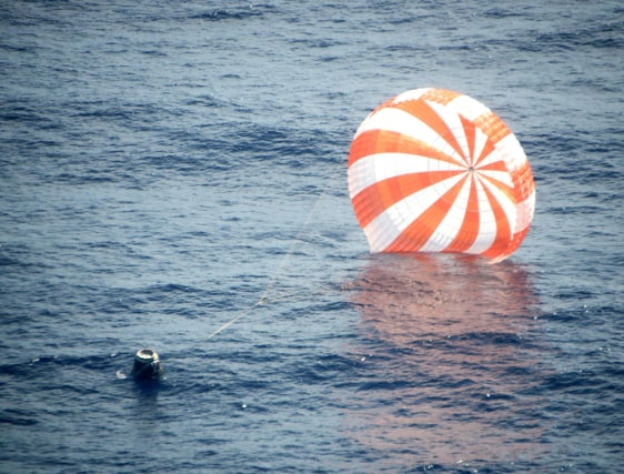 Image: SpaceX's Dragon capsule is pictured after splashing down approximately 250 miles off the coast of southern California