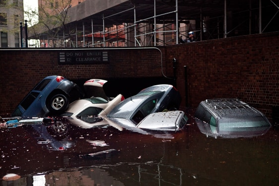 Image: Cars washed away in NYC
