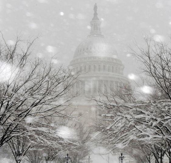 Image: Snow falls on the grounds of the U.S. Capitol as a blizzard blankets Washington
