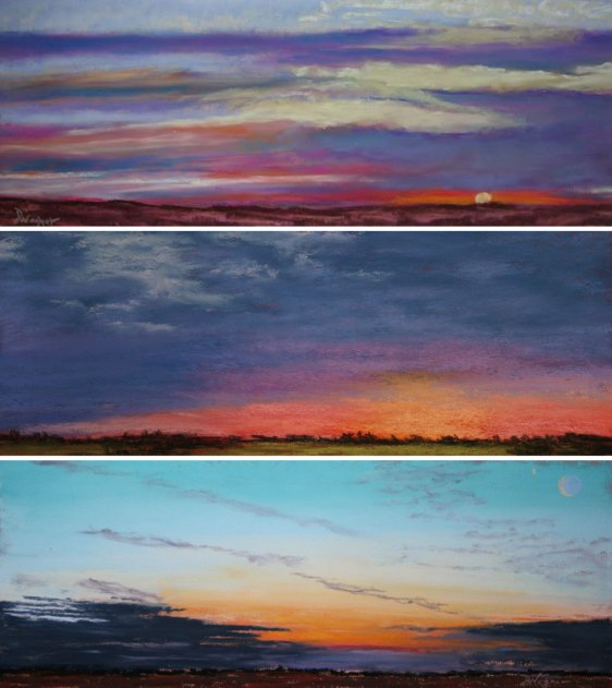 Image: Sunrises (from top) that Debbie Wagner painted on Jan. 1, 2006, Nov. 25, 2009 and Dec. 18, 2010.