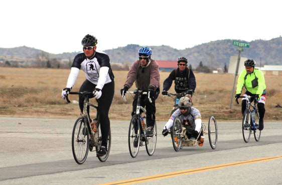 "Image: Veterans during the cross-country ""wall to wall bicycle ride"""