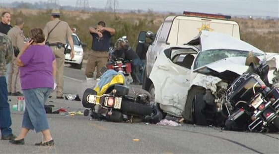 Image: Car-motorcycles crash scene