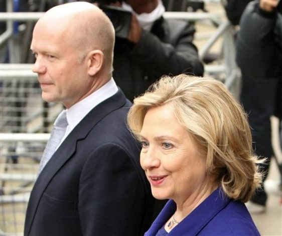 Image: U.S. Secretary of State Hillary Clinton and British Foreign Secretary William Hague