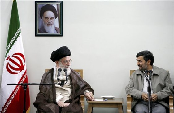 Ali Khamenei and Mahmoud Ahmadinejad