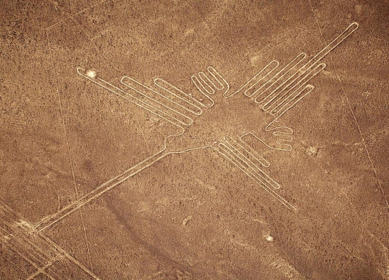 File photo of aerial view of Hummingbird figure at the Nazca lines south of Lima in Peru