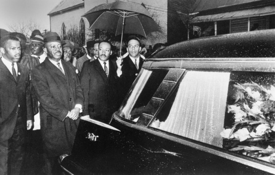 Dr. Martin Luther King, Jr. leads funeral procession for Jimmy Lee Jackson