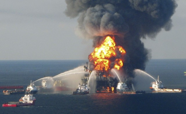 Image: Seawater blasted at oil rig
