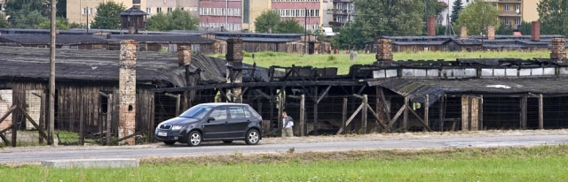 Image: A burned barrack in the WWII Nazi German extermination camp Majdanek