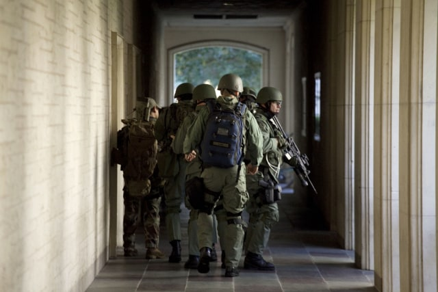 Image: Armed personnel at the University of Texas at Austin