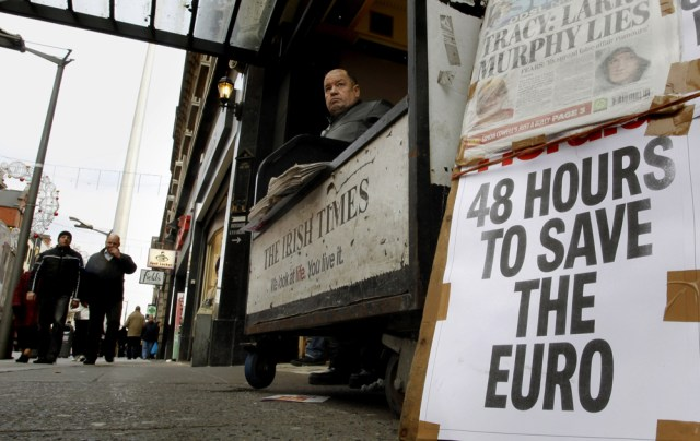 Image: A newspaper seller in Dublin, Ireland