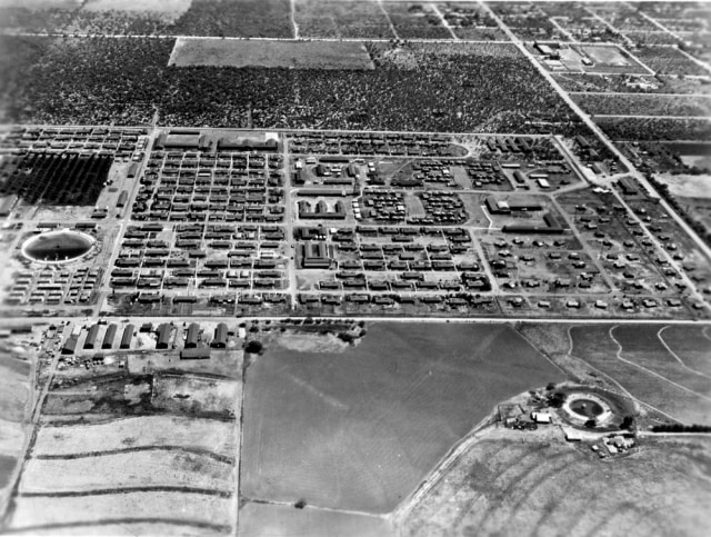 Image: An aerial view Crystal City Family Alien Internment Camp in Texas