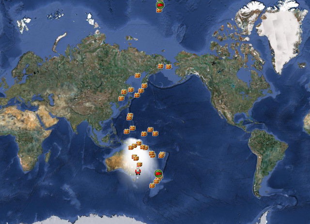 Image: Official NORAD tracking of Santa Claus