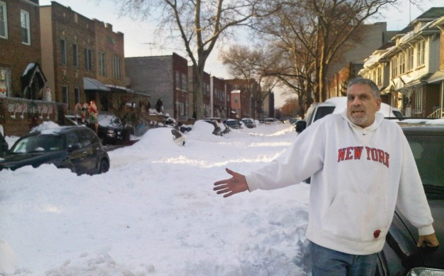 Image: Brooklyn man on unplowed street