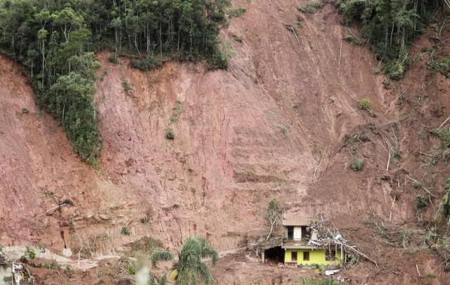 Image: Home surrounded by landslide area