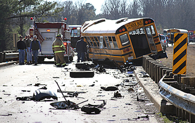 Image: School bus crash south of Calhoun City, Miss.