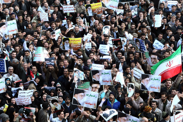 Image: Iranian government supporters demonstrate
