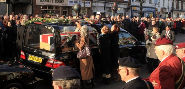 Image: Wootton Bassett Pays Tribute To A Fallen Soldier And His Dog As Their Bodies Are Repatriated