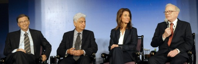 Image: Bill Gates, Azim Premji, Melinda Gates and Warren Buffett