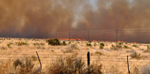 Image: An uncontrolled wildfire burns at the Jeff Davis and Presidio County line near Fort Davis, Texas, Sunday