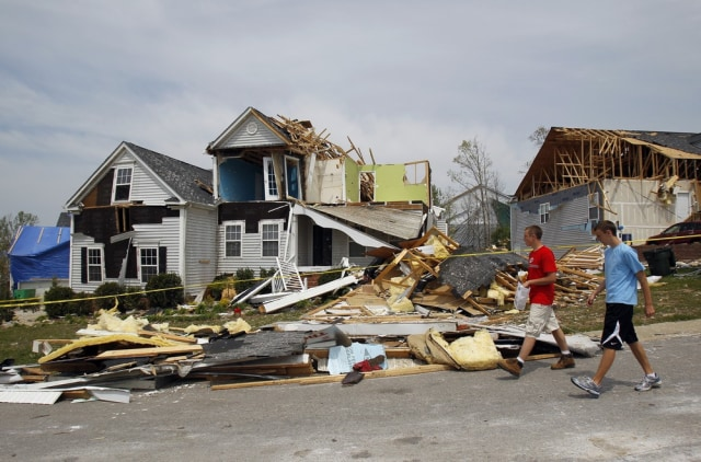 Image: Saturday's tornado damaged many homes in northeast Raleigh, N.C. are shown on Tuesday, April 19
