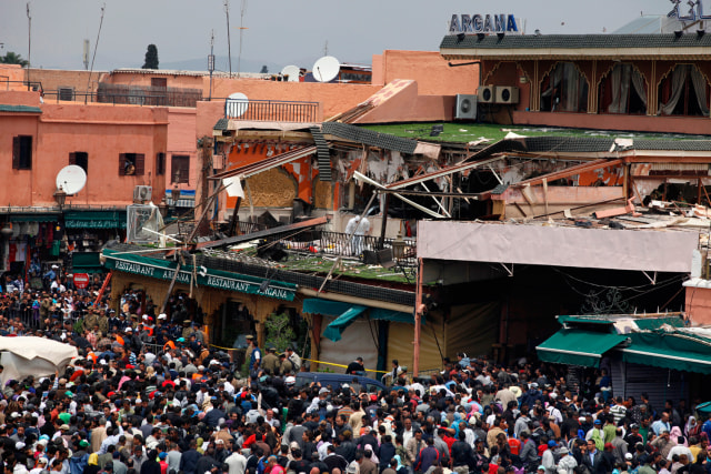 Image: A damaged cafe after a blast in the southern Moroccan city of Marrakesh