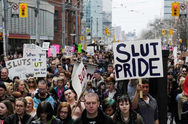 "Image: ""SlutWalk"" protest in Toronto on April 3"
